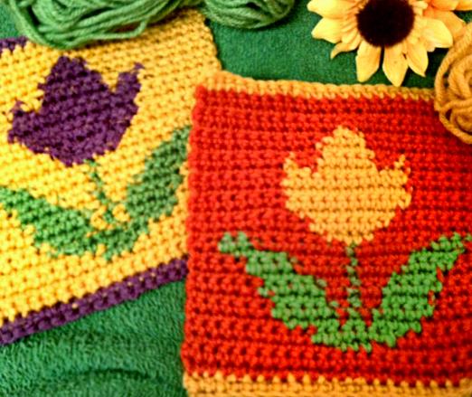 Crochet tulip flower square mellie blossom