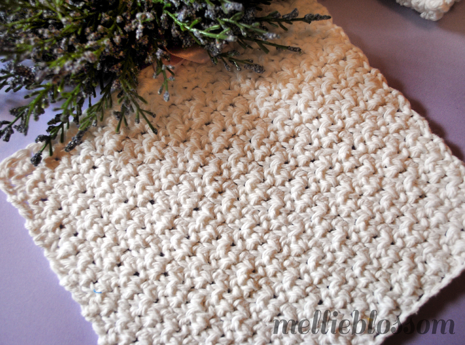 Free Crochet Pattern For Easy Dishcloth : Free Easy Crochet Dishcloth Pattern - mellie blossom