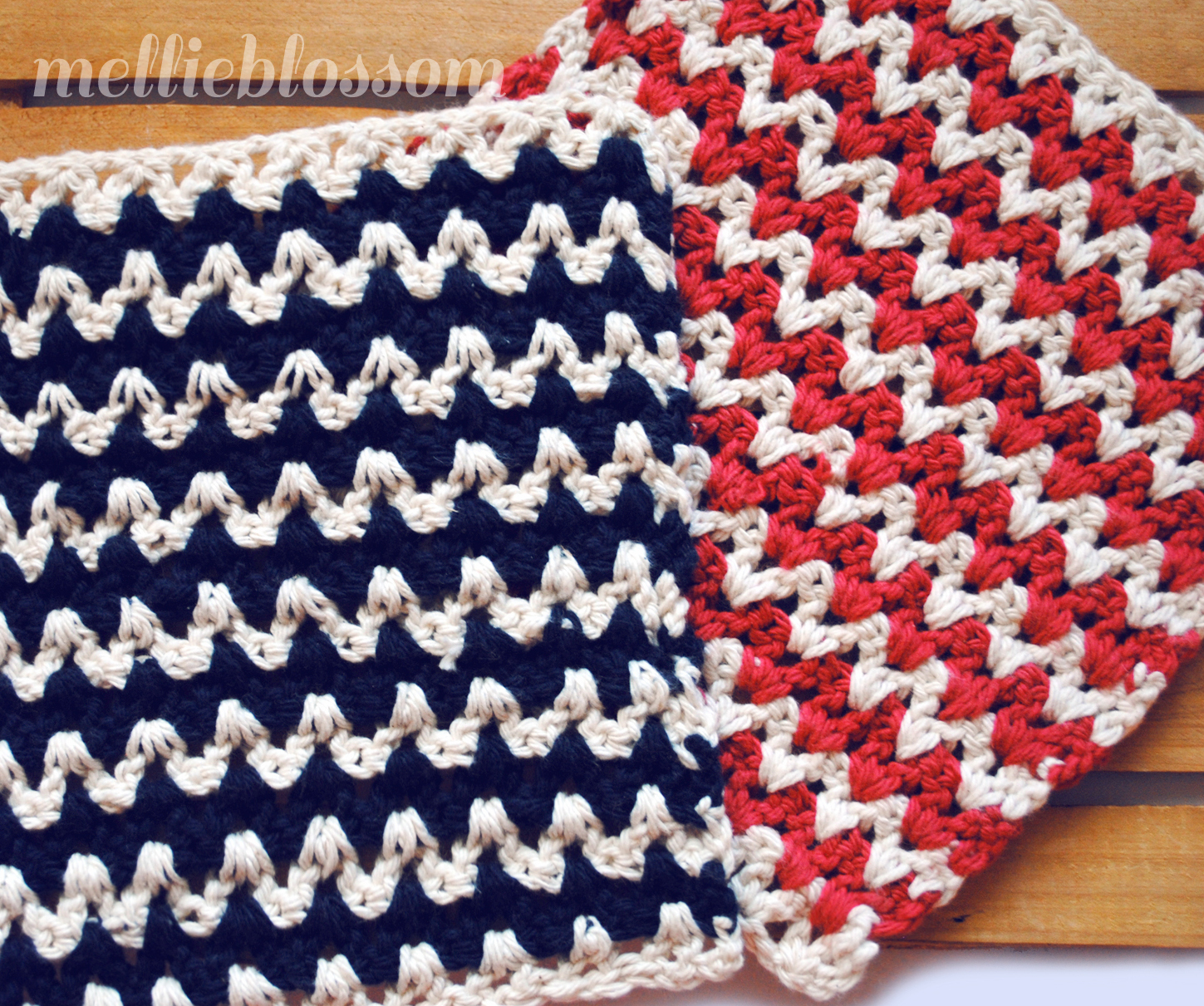 Free Crochet Dishcloth Pattern - ZigZag - mellie blossom