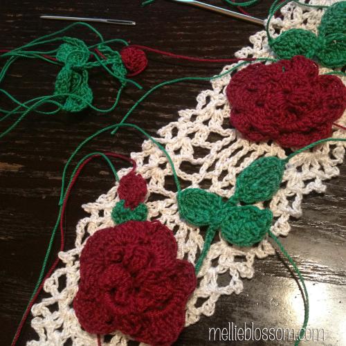 Crochet Cross with Roses - mellieblossom.com