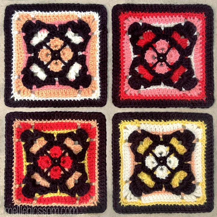 Gothic Crochet Square in new crochet colors - mellieblossom.com