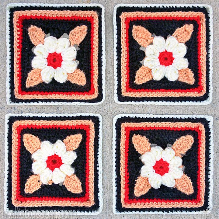 2016 Crochet Along Squares - Sweet Daisy Crochet Squares - mellieblossom.com