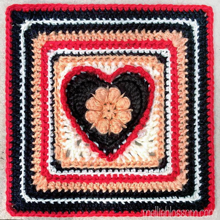 2016 Crochet Along Squares - Grandma's Heart Square - mellieblossom.com