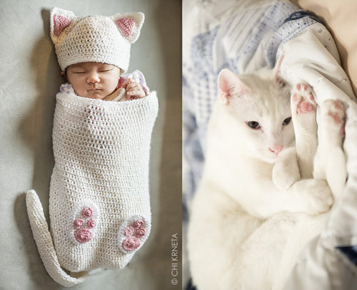 Cat Baby Cocoon Hat & Bootie Set